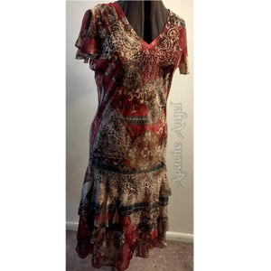 Reba Ruffle Dress 30's Inspired Look Sz Med/ Lg